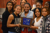 FHS Girls' Basketball Team Gets Trophy For State Sectional Championship