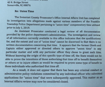 Somerset County Prosecutor Finds No Criminal Or Administrative Violations In FTPD 'Union Time' Use