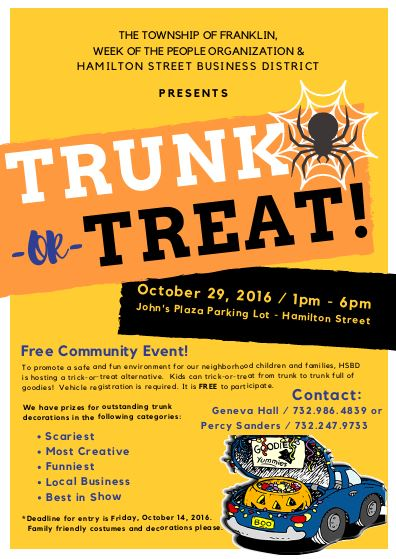 Trunk or Treat On Hamilton Street @ John's Plaza Parking Lot | Franklin Township | New Jersey | United States