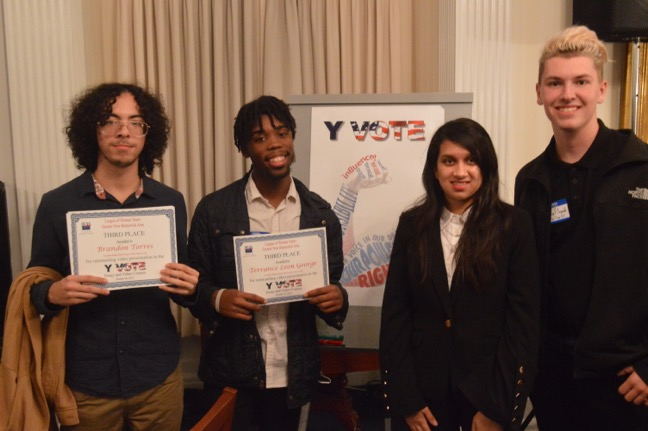 Updated Fhs Students Win Awards At Lwv Y Vote Essay And Video  Franklin High School Students Brandon Torres Terrance Leon George Natasha  Ishaq And Brandon Fitzgerald Left To Right Took Home Awards Oct  At  The